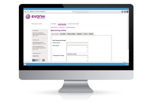 Screenshot der Evonik Web-Applikation für Sponsorings